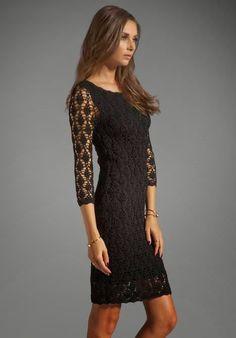 Catherine Malandrino Sleeve Boat Neck Crochet Dress in Noir Black Crochet Dress, Crochet Skirts, Crochet Clothes, Robe Diy, Boho Fashion, Fashion Dresses, Catherine Malandrino, Most Beautiful Dresses, Crochet Woman