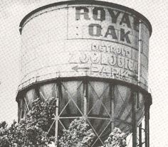 Old Detroit Zoo water tower in Royal Oak Royal Oak Michigan, Detroit Zoo, Oakland County, Michigan Travel, Tree Line, Water Tower, Antique Shops, Plan Your Trip, Childhood Memories