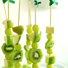 All Green Fruit Skewers {St. Patrick's Day Food}These all green fruit skewers are yummy, healthy and festive! Perfect to serve on St. Patrick's Day! Serve at your holiday event or just as a fun after school snack!View This Tutorial