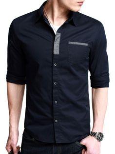 Dark Blue Designer Casual Shirt