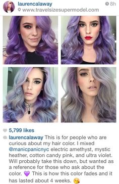 Purple mermaid hair color naturally fading to a pastel violet and silver grey/ gray #curls curled styled #dye info fade #instagrammer Manic Panic NYC beauty ~ Gorgeous Instagram girl, Larencalaway