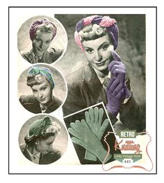 1940s Wartime Turbans and Gloves Vintage Knitting by MyVintageWish