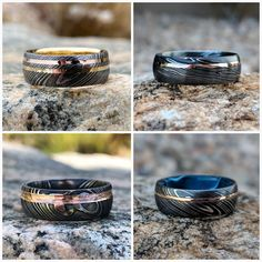 Unique Custom Rings, Wedding Bands and Jewelry USA Made by RenaissanceJewelry Nerd Wedding Rings, Wedding Bands, Cute Wedding Ideas, Pretty Rings, Wood Rings, Damascus Steel, Ring Bracelet, Vintage Rings, Fidget Gadget