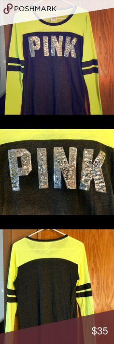 Size small PINK long sleeve shirt Barely worn, size small, PINK, long sleeved, gray and bright yellow, sequins. PINK Victoria's Secret Tops Tees - Long Sleeve