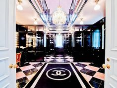 A two-story master closet designed to look like the Chanel boutique in Paris? Yes, please! At the Champ d'Or mansion just north of Dallas. Love the black and white theme as well. #design #decor #home #beautiful