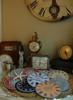 Clock faces crafted from old cd's and clock images.  Shared by eleven-o-one at the Knick of Time Tuesday Vintage Style Party!