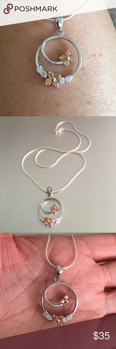 """Sterling Silver Champagne CZ Flower 🌺 Necklace Sterling Silver Champagne CZ and Clear CZ Flowers Pendant with Italian Sterling Silver Snake Chain Necklace, 925 Sterling Silver, Pendant Height 18 mm, Chain Available in 16"""" or 18"""" Jewelry Necklaces"""