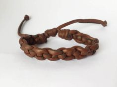 Brown leather bracelet boho indie gypsy rustic by MittmibyD
