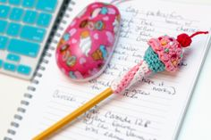 """I have a cute little pattern available now in Issue 51 of Simply Crochet magazine! It's a cupcake pencil topper, and it's perfect for a stocking-stuffer or a """"just thinking of yo… Crochet Cupcake, Crochet Food, Crochet Dolls, Knit Crochet, Crochet Wallet, Crochet Bookmarks, Pen Toppers, Kawaii Crochet, Simply Crochet"""
