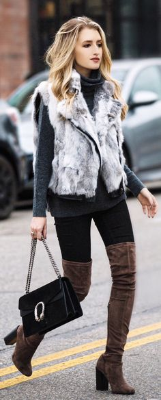 #winter #fashion /  Grey Faux Fur Vest / Black Knit / Black Skinny Jeans/ Brown OTK Boots