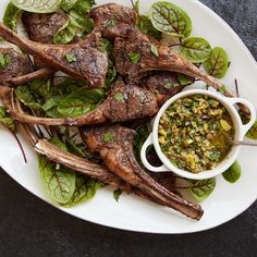 This recipe was inspired by my dad, Mark Boone, who loves lamb chops and pistachios. In this dish, the nuts add richness to a riff on a classic salsa verde. The bright, herby sauce is the perfect accompaniment to grilled lamb chops.