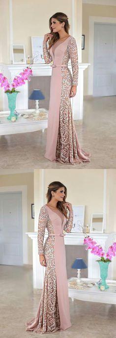 V-Neck Lace Prom Dress, Generous Long Sleeves Prom Dress, Long Stain Evening Dress #mermaidpromdress #longpartydress #eveningdress#