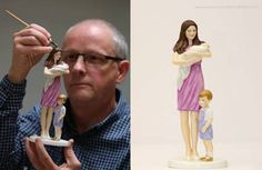 artist Neil Faulkner created a beautiful figurine representing The Duchess of Cambridge with Prine George and Princess Charlotte.