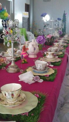 Another tea party would be delightful! How cute are the grass placemats? :)