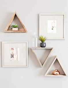 Reclaimed Wood Triangle Shelf Standard Size Sold by ElmAvenueShop