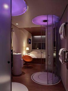 ...futuristic design, mood lighting, transparent pod in the bathroom with a rainshower... **** citizenM hotel Amsterdam City, Amsterdam, Netherlands
