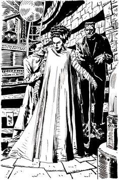 Bride of Frankenstein by Jordi Bernet Comic Book Pages, Comic Books, Jordi Bernet, Horror Monsters, Bride Of Frankenstein, Classic Monsters, Monster Art, Cool Cartoons, Horror Art