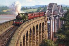 Railway and landscape paintings by artist Rob Rowland GRA Severn Bridge, River Severn, Ribblehead Viaduct, Uk Rail, Foto Top, Old Train Station, Nostalgic Art, Henri Rousseau, Steam Railway