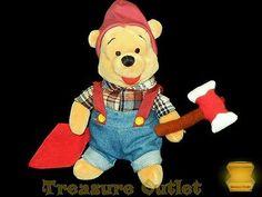 Disney Store Stuffed Plush Beanie Flannel Woodsman Winnie The Pooh Bear 8in