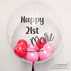 Personalised balloon With pink smaller balloons inside.  Perfect for any girl who love pink whatever her birthday. Small Balloons, Pink Balloons, Birthday Balloons, Balloon Ideas, The Balloon, Balloon Decorations, 21st Birthday, Birthday Parties, Personalized Balloons