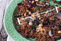 Quinoa Mushroom Salad with Parsley Pesto and Hazelnuts
