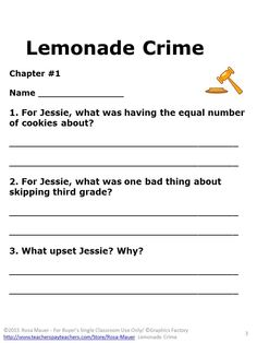 Among the hidden book unit pinterest comprehension questions the lemonade crime by jacqueline davies receive reading comprehension questions lines for student response fandeluxe Image collections