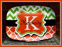 Personalized Melamine Plate, Personalized Plate, Personalized Melamine Platter, Monogrammed Melamine Plate, Monogram Plate, Melamine
