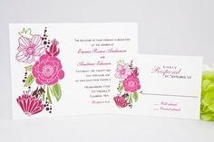 tropical flower wedding invitation