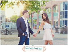 high waisted skirt, blush pink, blazer and jeans, engagement session, hoboken new jersey - can't wait for their NJ Wedding