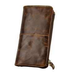Europe and the United States retro style of the first layer of oil wax skin men multi-card large capacity hand long wallet 1029