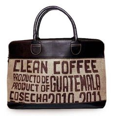 Jute and leather travel bag, 'Clean Coffee' - Leather and Recycled Jute Tote Bag from Guatemala Burlap Tote, Jute Tote Bags, Beach Tote Bags, Buy Coffee Beans, Coffee Shop, Coffee Branding, Coffee Pods, Big Bags, Printed Tote Bags