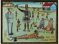 Tshibumba Kanda Matulu, Het Belgische koloniale regime (1885-1959). Hier gesymboliseerd door de wreedheden in de gevangenis van het Sakania district. Collecties online - Tropenmuseum