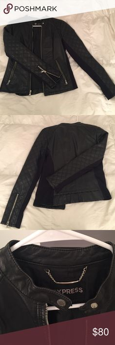 Black leather Express jacket size Medium. Great condition. Express Jackets & Coats