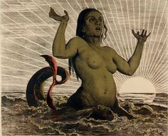 From clock-face painter to favorite painter of the German folk, Hans Thoma , had his first breakthrough in 1890 in Munich, Germany. This Mermaid is powerful. Real Mermaids, Mermaids And Mermen, Roman Latin, Hans Thoma, Gypsy Eyes, Fairytale Creatures, German Folk, Expressionist Artists, Elves And Fairies