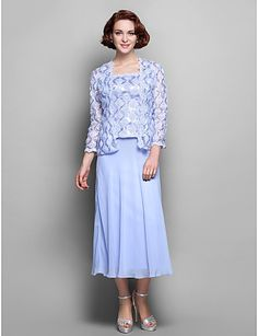 Sheath/Column Straps Tea-length Chiffon And Lace Mother of the Bride Dress – USD $ 119.99