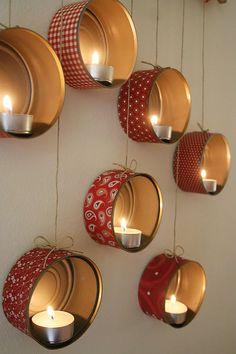 DIY Christmas decorations: Hanging Tin Can Lanterns Tin Can Lanterns, Lantern Decorations, Diy Lantern, Diy Christmas Hanging Decorations, Ideas Lanterns, Hanging Lanterns, Candle Lanterns, Glass Candle, Tin Can Crafts