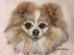 Cujo. Wool painted pet portrait by Linda Wenger