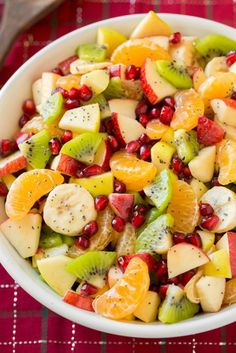 Winter Fruit Salad with Lemon Poppy Seed Dressing: Save yourself time by making the lemon poppy seed dressing days ahead and adding it to your salad minutes before you serve. Find more easy, tasty, and make ahead Christmas brunch recipes and menu ideas perfect for holiday parties and buffets.