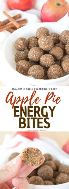 Soft and flavorful Apple Pie Energy Bites are perfect HEALTHY snack packed with nutrients. These sweet tasting balls are ADDED SUGAR-FREE and loaded with fragrant spices. Easy Snacks, Healthy Snacks, Easy Meals, Healthy Eats, Healthy Recipes, Healthy Deserts, Healthy Breakfasts, Protein Snacks, Healthy Drinks