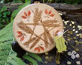 Made to Order Wheat Pentacle Mabon Altar Tile