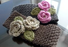 Free Crochet Wide Headband Pattern | headband is 17 stitches wide while the taupe band is 15 stitches wide ...