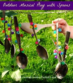 Sun Hats & Wellie Boots: Outdoor Music Station made with Spoons