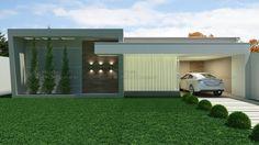 Casa C011: Projeto de casa com 3 quartos, sendo 1 suíte, 2 banheiros e 1 vaga na garagem. Fachada moderna e harmoniosa, com platibanda.