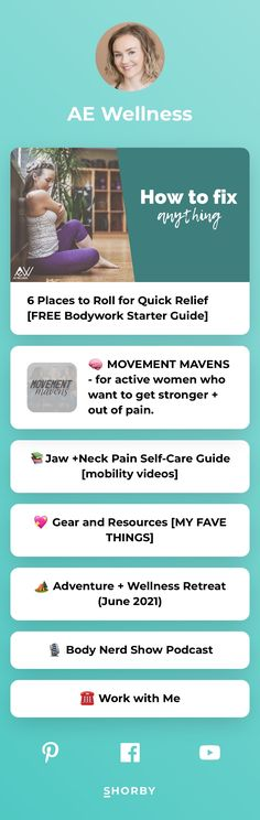 I help women move better and feel better, every day. Get the FREE checklist and learn how to get stronger and out of pain ASAP @aewellness Neck Pain, Self Care, Feel Better, Landing, How To Get, Wellness, Feelings, Health, Free