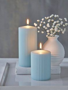 These textural Heavenly Blue pillar candles are set to become a firm favourite. Blue Pillar Candles, Candle Lanterns, Diy Candles, Scented Candles, Long Candles, Decorating Candles, Candle Decorations, Candle Pics, Ideas Candles