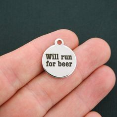Beer Stainless Steel Charm Will Run for Beer by BohemianFindings