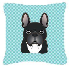 Checkerboard French Bulldog Indoor/Outdoor Throw Pillow