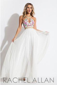 Rachel Allan 7516 White Chiffon Prom Dress