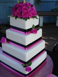 Fuchsia cake.very pretty and elegant! fuscia