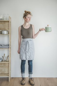Linen apron. Washed silver, natural, eco - friendly, handmade linen apron.